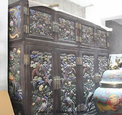 China Wood Cloisonne Phoenix Peacock Wardrobe Armoire Cupboard Cabinet Pair