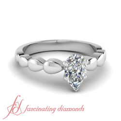 1/2 Ct Pear Shaped Diamond Solitaire Rain Drop Style Engagement Ring Si1-f Color