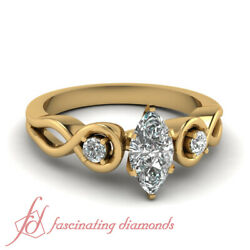 1/2 Carat Past Present Future Rings With Natural Marquise Cut Diamond Center Gia