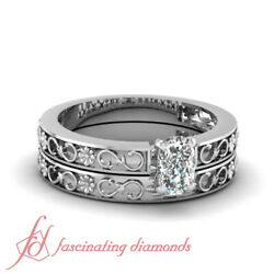 1/2 Ct Cushion Very Good Cut Diamond Solitaire Carved Floret Wedding Rings Set