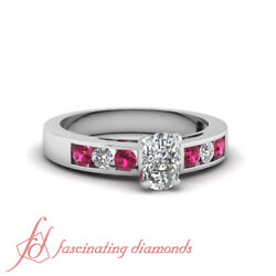.70 Ct Cushion Cut Vs2-f Color Diamond And Round Pink Sapphire Engagement Ring Gia