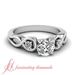 .60 Ct Round Cut Diamond Three Stone Solid 14k Gold Engagement Ring Si1-e Color