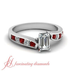 Twine Edged Channel Set 3/4 Ct Emerald Cut Diamond And Round Ruby Engagement Ring