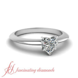 1/2 Carat Solitaire Heart Shape Diamond Knife Edge Engagement Ring In White Gold