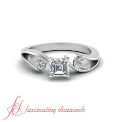 .60 Ct Past Present And Future Asscher And Round Diamond Ring For Women White Gold