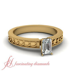 1/2 Carat Affordable Solitaire Vintage Diamond Rings For Women With Emerald Cut