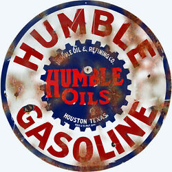 Reproduction Humble Gasoline And Oil Station Sign