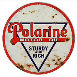 Extra Large Reproduction Polarine Sturdy And Rich Motor Oil Sign 24
