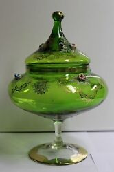 Vintage Green Glass Apothecary Candy Jar Gilded Italian Porcelain Flowers 496