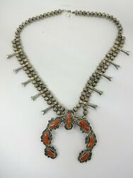 Sterling Silver Navajo Hand Made Bead Coral Squash Blossom Necklace 104 Gram