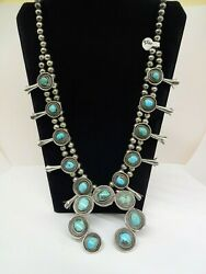 Sterling Silver Navajo Hand Made Bead Turquoise Squash Blossom Necklace 166g