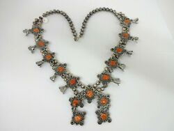 Sterling Silver Navajo Hand Made Bead Coral Squash Blossom Necklace 172g