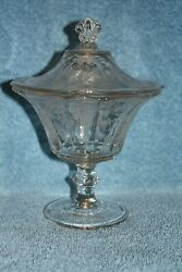 Cambridge Rose Point Crystal 3900/138 Footed Candy Box With Cover