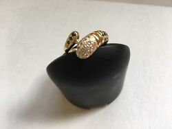 Vintage 14 Kt Yellow And Pink Gold Saphire And Diamond Snake Ring.