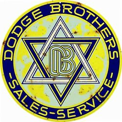 Reproduction Yellow Dodge Brothers Service Sign 14 Round