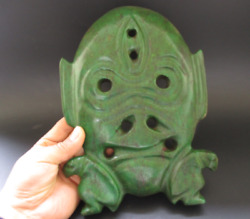 China Hongshan Culture Old Turquoise Jade Hand-carved Sun God Mask Statue 1426g