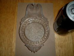 Depression Era - [3-d] Frosted Eagle Logo, Clear Glass Ashtray, 1930's Yrs. Usa