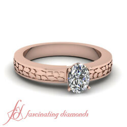 3/4 Carat Oval Shaped Diamond Solitaire Engraved Engagement Ring In Rose Gold