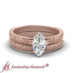 3/4 Carat Marquise Diamond Solitaire Filigree Wedding Rings Set In Rose Gold Gia