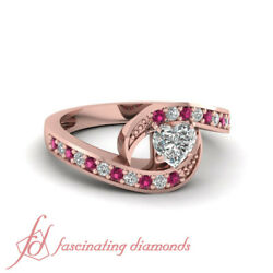 3/4 Ct Interlock Pave Set Heart Shaped Diamond And Pink Sapphire Rings For Women
