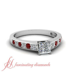 3/4 Tcw. Princess Cut Diamond And Ruby Aligned Pave Engagement Ring Vvs1-d Color