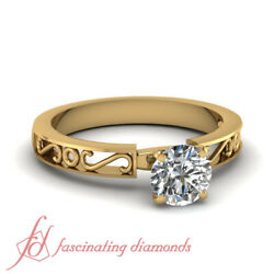 .50 Ctw Round Cut Vintage Inspired Solitaire Yellow Gold Diamond Rings For Women