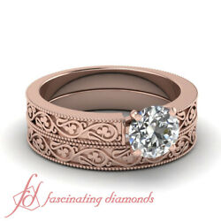 3/4 Carat Round Diamond Vintage Style Solitaire Engagement Rings Set For Women