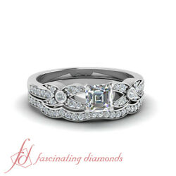 .87 Tcw. Asscher Cut Diamond Wedding Rings Pave Set Vs1-f Color Gia Certified