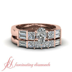 1 Ct Princess And Baguette Diamond Wedding Ring Sets For Women With Pear Shaped