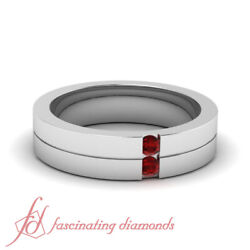 .10 Ct Comfort Fit Mens Wedding Ring Sold By Fascinating Diamonds With Red Ruby