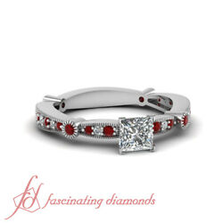 3/4 Tcw. Princess Cut Diamond And Round Red Ruby Milgrain Engagement Ring D-color
