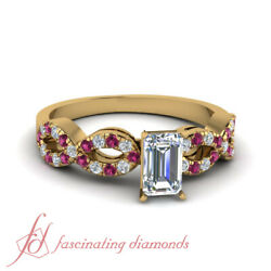 3/4 Carat Emerald Cut Diamond Modern Engagement Rings With Round Pink Sapphire