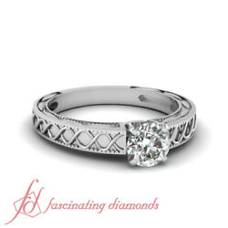 1/2 Ct Round Cut Natural Diamond Solitaire Antique Style Engagement Ring 14k Gia