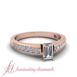 Pave Set 0.85 Ct Emerald Cut Conflict Free Diamond Engagement Ring Gia Certified