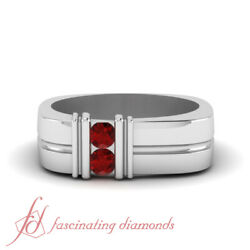 .30 Ct Double Bar Design Carved Natural Ruby Mens Wedding Rings In Platinum