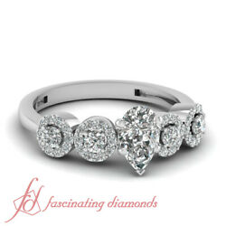1 Ct Pear Shape Cutvery Good Diamond Engagement Ring Pave Set Si1-f Color Gia