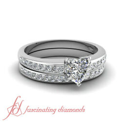 1 Ctw Heart Shaped Diamond White Gold Womens Wedding Ring Set With Round Accents