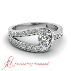 .70 Ct Heart Shape Vs2 Diamond Curved Band Engagement Ring Pave Set 14k Gold Gia