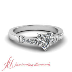 Heart Shaped Vvs2 Diamond Cathedral Design Engagement Ring Pave Set Gia 0.65 Ct