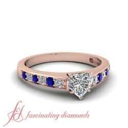 1 Carat Heart Shaped Pave Set Diamond Rings For Women Engagement In Rose Gold
