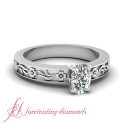 3/4 Carat Solitaire Cushion Cut Diamond Hand Engraved Engagement Ring For Women