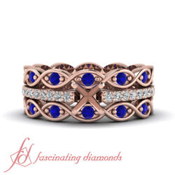 Rose Gold Semi Mount Wedding Bands Sets With Real Diamonds And Blue Sapphires