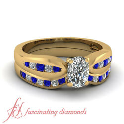 .80 Ct Wedding Rings Channel Set For Women With Cushion Cut Diamond And Sapphire