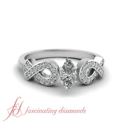 .90 Ct Gia Certified Marquise Cut Si2-e Color Diamond Pave Set Engagement Ring