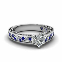 3/4 Carat Antique Scroll Heart Shaped Diamond And Sapphire Engagement Ring Gia