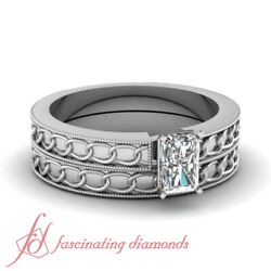 .50 Ct Radiant Cutvery Good Diamond Solitaire White Gold Wedding Set For Women