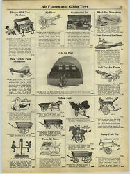 1929 Paper Ad Gibbs Push Toy Tractor Lindy Us Air Mail Hanger Toy Sea Plane