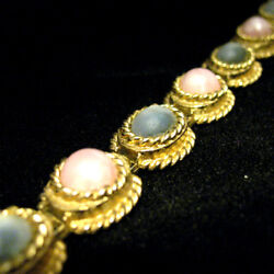 Vintage Sarah Cov Coventry Womens Bracelet Gold Tone Chain Link Pink Moonstone