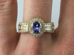 1.36 Ctw Oval Tanzanite And Diamond Halo Ring With Flared Band 14k Gold