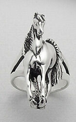 8.95g Solid Sterling Silver 1.25 Galloping Horse Ring Equestrian Unisex Size 8